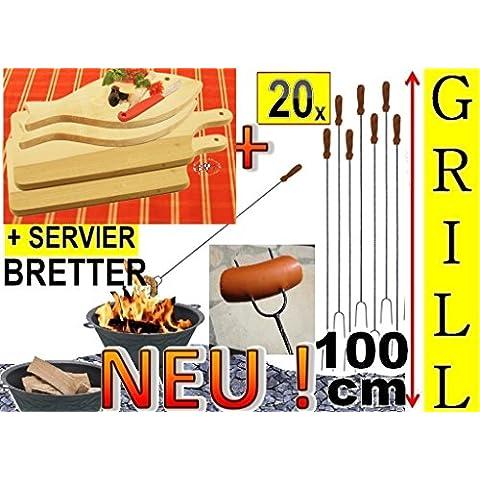 20 x mega-Set di barbecue Spiedini + 4 x legno spazio piatto, tagliere pesce 35 x 16 cm, falò-spiedini di salsiccia, spiedi, verdure grigliate, ideale per grill un'ampia, giardino festa, compleanno, Outdoor, per fuoco ciotola, fuoco cestini, Picnic Barbecue, picinic-barbecue, Giardino forni, grill camino, si può usare anche, set da, lunga grill forcella, spiefini, spiedini, set di posate, forchetta e paletta, posate barbecue, Grill Spatola, spiedi per barbecue