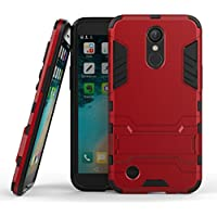 Fundas LG K10 (2017) / LG X400, LG M250N Funda Carcasa Case, Ougger Protector Extrema Absorción de Impacto [Kickstand] Piel Armor Cover Duro Plástico + Suave TPU Ligero Rubber 2in1 Back Gear Rear Red