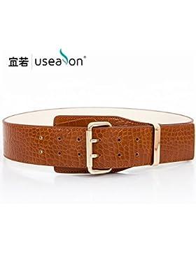 SILIU*La Sra. elegante cinturilla ancha tatuaje de peces silvestres decorado cinturilla ancha doble fijación de...