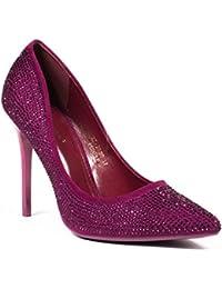 Ideal Shoes - Escarpins à bout pointus effet daim recouvert de strass Macha