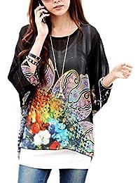 Blusa de talle ancho hecho de gasa y con estampado floral negro 007 – Moda femenina para la mujer mws1827