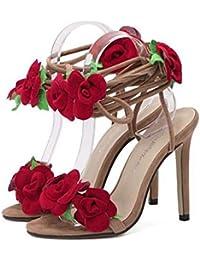 SHEO sandalias de tacón alto Mujeres Europa y Estados Unidos cruzan encajes con sandalias sexy de tacón alto