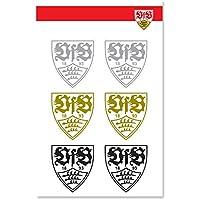 VfB Stuttgart Wappen Logo Sticker / Aufkleber transparent 6er Pack ca 4 x 4 cm