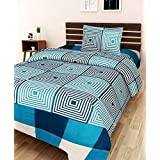Choice Homes 3D Printed 154 TC Single Bedsheet With Pillow Cover Combo(Green)