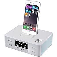 Plater D9 altoparlante senza fili Bluetooth multimediale con NFC accoppiamento FM radio sveglia con telecomando per iPod iPhone iPad Android - White