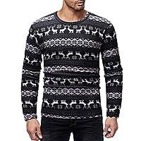HCFKJ Ropa Hombre Invierno Casual Manga Largas Classic Navidad Impresa Camiseta OtoñO Invierno Jersey Blusa Superior