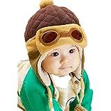 ZARU Niños casquillos calientes Beanie, Piloto de ganchillo con orejeras sombreros de invierno (Cafetería)