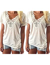 cbc81a8ad8 Fletion Women Girl s Summer Sexy V-Neck Lace Vest Short Sleeves T-Shirt Tank