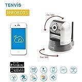 Tenvis IpROBOT 3 Caméra de surveillance HD 1280x720P H.264 IP Wifi sans fil - Détection Mouvement Alerte – Vision Nocturne- Son 2 sens - Motorisée - Appli téléphone & Guide & interface PC en FRANCAIS