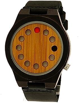 Henny Klein designer Unisex Damen Herren Öko Natur Holz Leder Armbanduhr Uhr Schwarz Braun Holzuhr