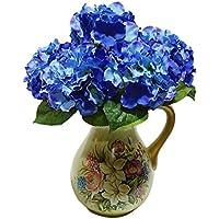Ramo de flores artificiales - TOOGOO(R) ramo de 5 cabezas de flor de hortensia artificial para decoracion de boda jardin fiesta de color azul oscuro