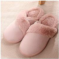GAOHUI Slippers Los Hombres Invierno Caliente Antideslizante Terciopelo Artificial Zapatillas Costura Moda Interiores Exteriores Par De Zapatos,Rosa,35-36