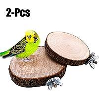 Legendog 2PCS Plataformas De Jaula Soportes De Madera Para Pájaros Perca De Loro De Forma Redonda Perca De Juguete De Juguete De Pájaro
