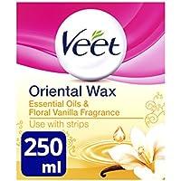 Veet - Cera caliente con aceites esenciales y flores de vainilla, se calienta en el microondas tarro de 250ml