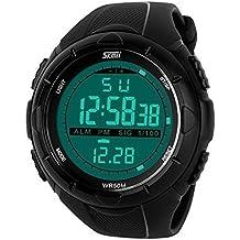 Deportivo LED Reloj Digital de Cuarzo con Correa de Gaucho Esfera Grande Multifunción Alarma Cronómetro Calendario Waterproof Wrist Watch Para Hombre Chico - Negro