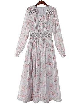 WFL Las señoras visten la falda floral de la primavera del vestido retro de las mujeres del verano femenino pequeña...