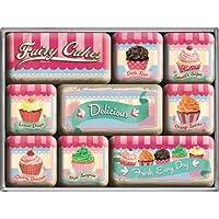 CharliePunkBerlin Fairy Cakes- Set da 9 deliziose calamite da frigo, potenti, design retro