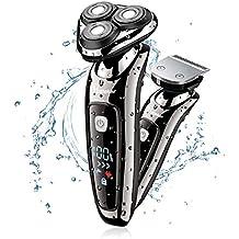 Hatteker Herren Elektrorasierer Rasierer Bartschneider 3D Rasierapparat 2 in 1 Rotationsrasierer Präzisionstrimmer Nass / Trocken Vollständig abwaschbar USB schnurlose Haarschneider Wasserdicht