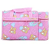 ALEMKIP Newborn Baby Multi Purpose Teddy Bear Printed Pink Nursery Baby Diper Bag | Nappy Bag | Mother Bag With 2 Bottle Holders