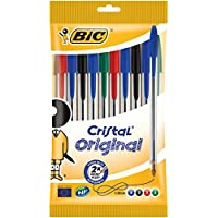 BIC Cristal Original - Pack de 10 bolígrafos de punta redonda, multicolor