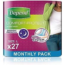 Depend - Braguitas de incontinencia para mujer, súper absorbentes