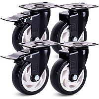 H&S Ruedas giratorias para muebles con ruedas giratorias de goma de PU de alta resistencia con frenos Pack de 4 (600KG, 100 mm) Negro