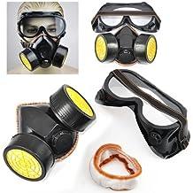 SATKIT Máscara Respiración Doble Cartucho con Gafas Kit Pintura Anti Gases