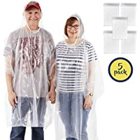 Rain Poncho with Drawstring Hood - 5 Pack of Clear Emergency Adult Ponchos from Organized Explorers™ - Lightweight yet Strong, Reusable or Disposable