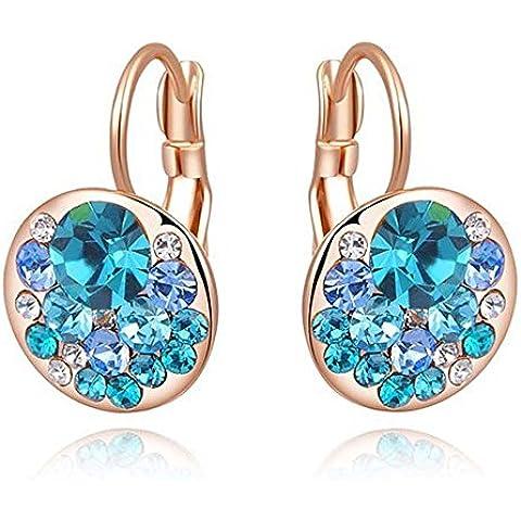 findout in oro rosa placcato / placcato oro bianco cristallo austriaco genuino blu diamante clip cerchio dell'orecchio. (1716) - Rosa Anelli Dell'orecchio
