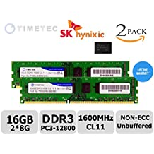 Timetec Hynix IC Kit de 16GB (2x8GB) DDR3 1600MHz PC3-12800 No ECC sin buffer 1.35V / 1.5V CL11 2Rx8 Doble Rango 240 Pin UDIMM PC de escritorio de la computadora de la memoria RAM Módulo Upgrade (2 x 8GB)