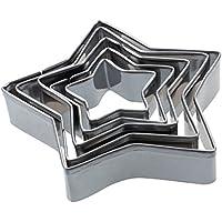 Cortador de galletas - SODIAL(R) 5 pzs Cortador de galletas de aluminio de acero aleado Molde de torta de estrellas Plata