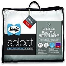 Sealy Select Balance - Protector de colchón, Doble Capa, Blanco, Doble, Microfibra