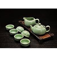 xiduobao Tranditional kungfu Tea Set Porcellana Ru forno kungfu Tea Set cinese Celadon Kung Fu Tea Set Teiera in porcellana verde ceramica kung fu tazza casa/ufficio/Viaggio Teaset.Set di 8.