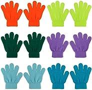 QKURT 6 Pares Guantes de Invierno para Niños,Invierno Guantes Guantes Calientes Guantes de Dedos completos par