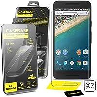 CaseBase® Premium - Pellicola protettiva per Display in Vetro Temperato - Confezione doppia per Nexus 5X / LG Nexus 5X / Google Nexus 5X (2015) ** Doppio Vetro ** 2 in 1