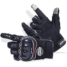 Guantes de motos motocicleta para carreras todo terreno, guantes de moto para pantallas táctiles resistentes a caídas (XL, Black)