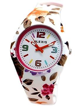 10FW922C Alexis Armbanduhr, rund, PNP, glänzend, Silberfarben, Uhrgehäuse aus Silikon, Weiß, Bunt, modisch