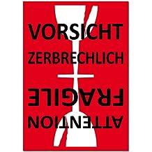 Aufkleber Sticker Etiketten Label Vorsicht Glas zerbrechlich Attention Fragile Versand Umzug Paket (1)