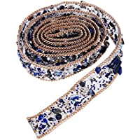 ROSENICE Diamantes de Imitación de Cristal y Apliques de Perlas con Cuentas del Ajuste del Cordón de la Cinta Bling de Costura en el Ajuste para el Cinturón de la Faja del Vestido (azul) 1 Metro
