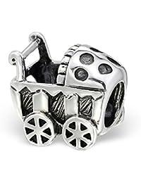 So Chic Joyas - Abalorio Charm Perla cochecito cuna - Compatible con Pandora, Trollbeads, Chamilia, Biagi - Plata 925