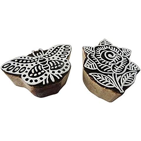 bloques de madera de decoración floral de la mariposa sello de marca de impresión de tela artículo de regalo de navidad decoración del hogar de color marrón forma un conjunto de 2