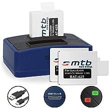 3 Baterías + Cargador doble (USB) para cámara deportiva Qumox SJ5000(+), SJ5000X, SJ4000(+) / SJCam M10(+), X1000... - contiene cable micro USB