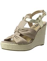 Xti Taupe Canvas Combined Ladies Sandals ., chaussures compensées femme