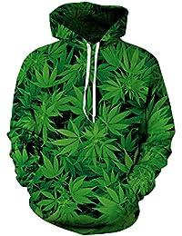 Navidad Hombres Y Mujeres Amantes Suelta Gran Tamaño Estilo Callejero Hoja De Cannabis Verde Suéter con Capucha Sudaderas con…