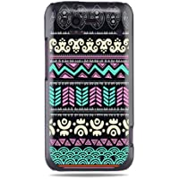 """GRÜV Premium Case - Design """"Abstraktes Rosa & Grün Tribalmuster"""" - Qualitativ Hochwertiger Druck Schwarze Hülle - für HTC G20 Rhyme Bliss 6330"""
