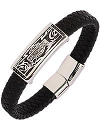 7074aa01c2a7 The Jewelbox Bracelet pour homme en acier inoxydable chirurgical et cuir  véritable Noir