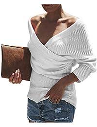 wenyujh Damen Pullover Oversize Asymmetrisch Sweater Pulli Strickpullover  Langarm Crossover Beiläufig Streetwear Oberteil Herbst… 1dd1cb5b76