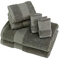 SUMC Juego de toallas con 2 toallas de baño 2 toallas de mano y 2 paños de ducha Toallas suaves de 6 piezas, uso diario de peso pesado y absorbente para el ...