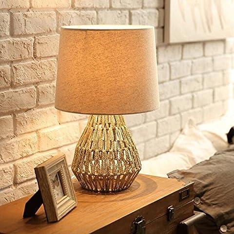 cuerda de cáñamo retro decoración tejida pequeña mesa lámpara de la lámpara de cabecera / dormitorio