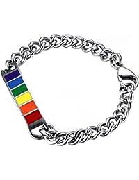 Oidea - Pulsera de eslabones Unisex de Acero Inoxidable con diseño de Orgullo Gay y LGBT, 22,86 cm